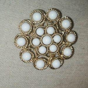 Stella & Dot Gold/White 'Paradise' Brooch
